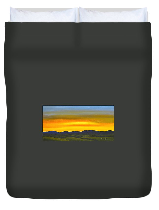 Sunrise Duvet Cover featuring the painting Luminescent Sunrise by Frank Wilson