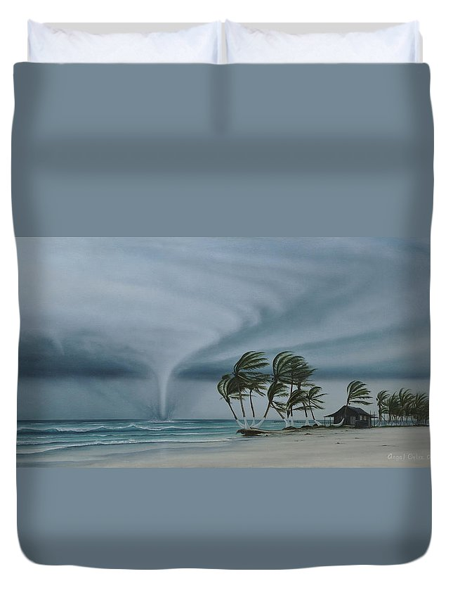 Duvet Cover featuring the painting Mahahual by Angel Ortiz