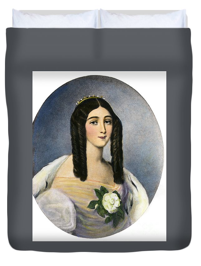 19th Century Duvet Cover featuring the drawing Marie Duplessis by Granger