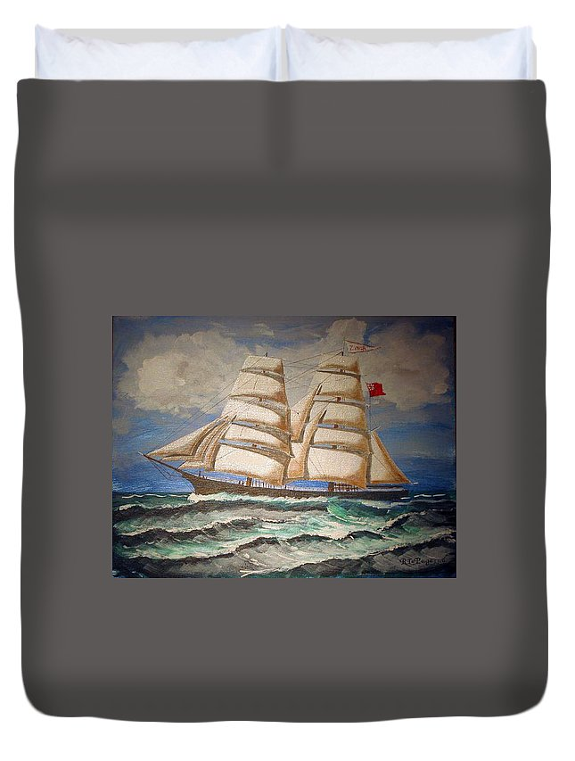 Tall Ship Duvet Cover featuring the painting 2 Master Tall Ship by Richard Le Page
