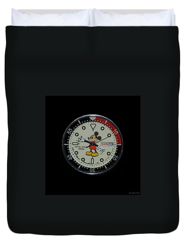 Mickey Mouse Duvet Cover featuring the photograph Mickey Mouse Watch Face by Rob Hans