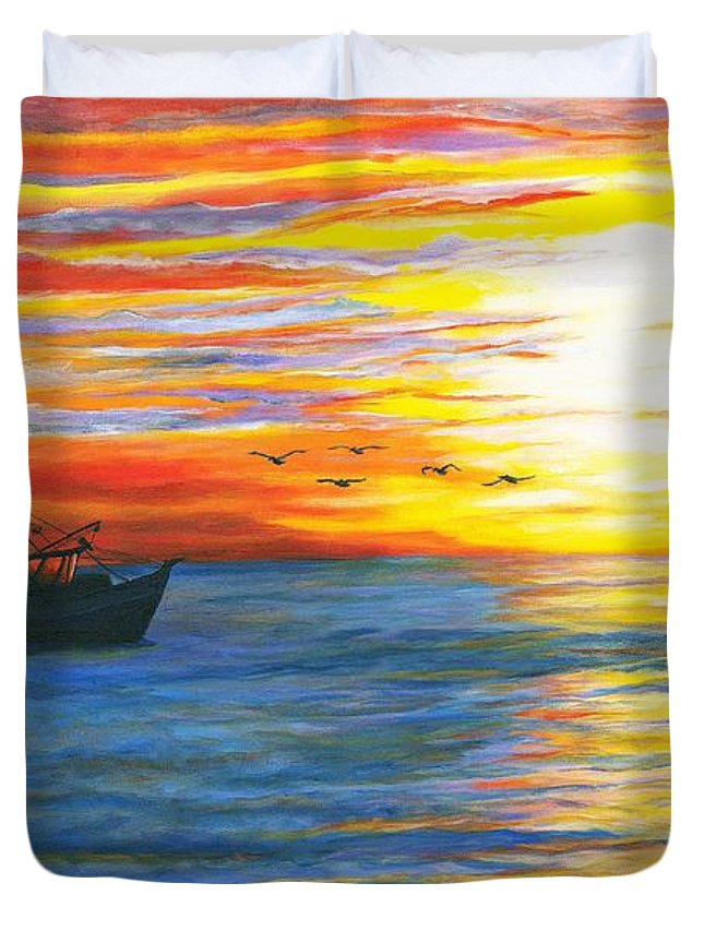 Shrimp Duvet Cover featuring the painting Morning Catch by Bev Veals