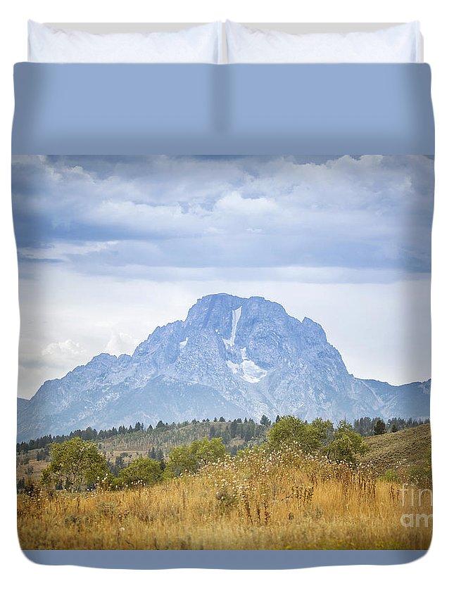 Mount Moran Duvet Cover featuring the photograph Mount Moran by Carolyn Fox