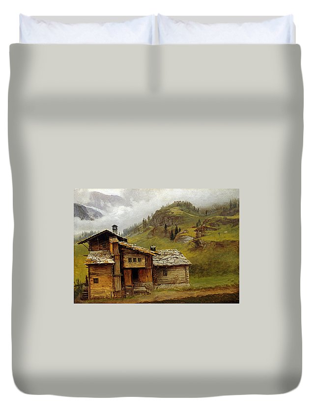 Albert Bierstadt Duvet Cover featuring the painting Mountain House by MotionAge Designs
