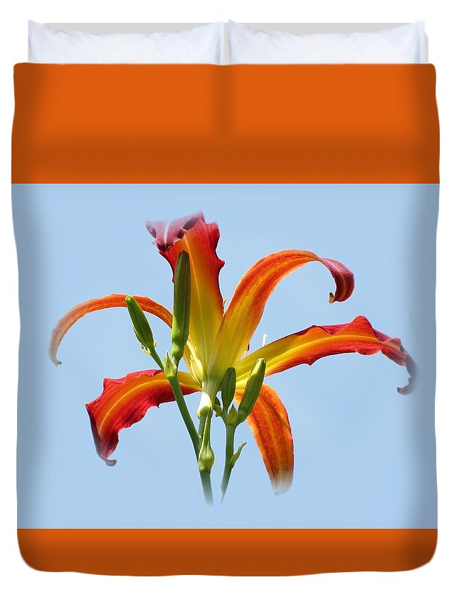 Red Ribbons Daylily Duvet Cover featuring the photograph Up In The Air by MTBobbins Photography