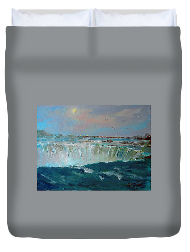 Landscape Duvet Cover featuring the painting Niagara Falls by Ylli Haruni