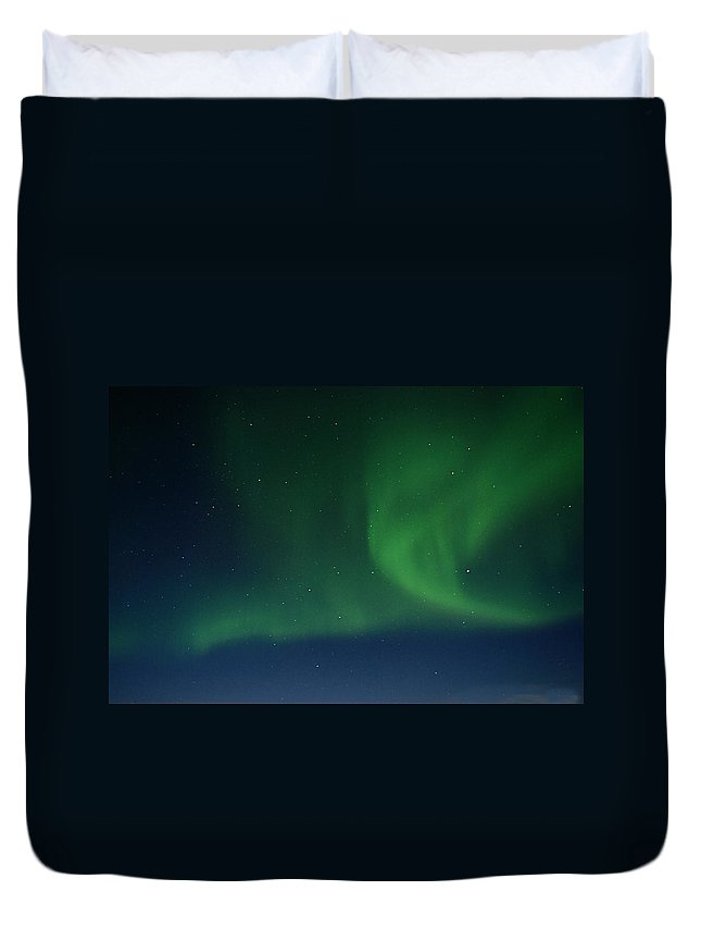 Northern Duvet Cover featuring the photograph Northern Lights - Fairbanks Alaska by Galeria Trompiz