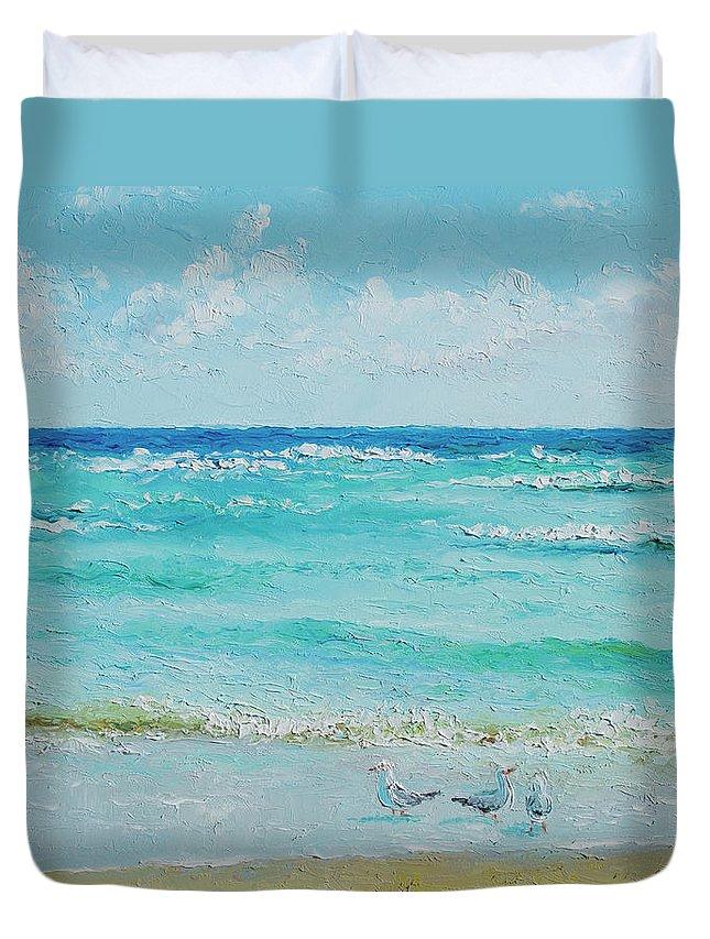 Ocean Duvet Cover featuring the painting Ocean Breeze by Jan Matson