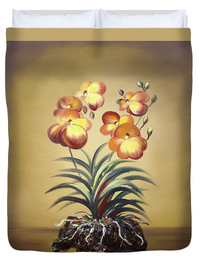 Orange Duvet Cover featuring the painting Orange Orchid Flowers by Gina De Gorna