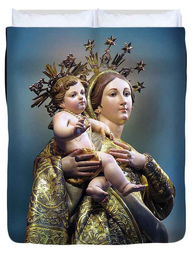 Our Lady Of Graces Duvet Cover featuring the digital art Our Lady Of Graces by Richard Faenza