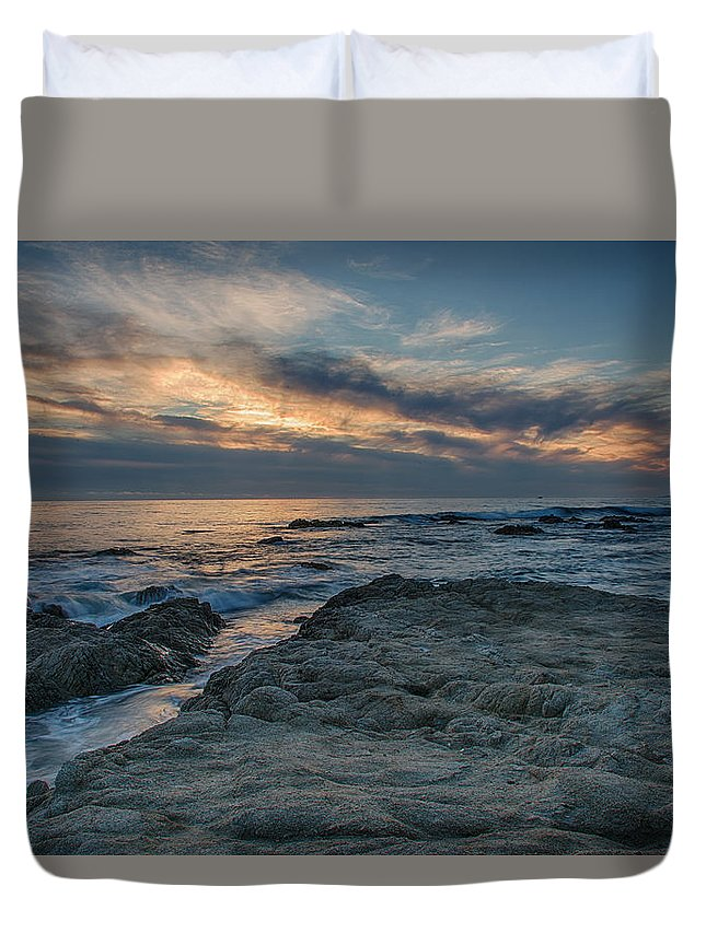 Asilomar Duvet Cover featuring the photograph Pacific Grove Sunset by Bill Roberts