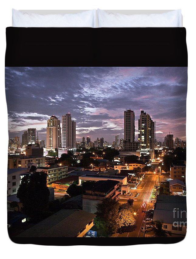 Heiko Duvet Cover featuring the photograph Panama City At Night by Heiko Koehrer-Wagner