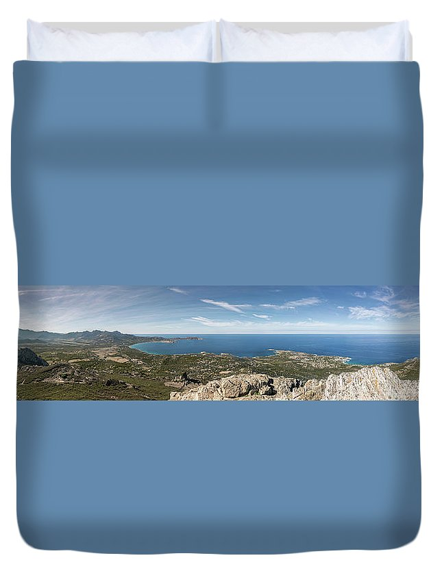 Ancient Duvet Cover featuring the photograph Panoramic View Across Calvi Bay And Revellata In Corsica by Jon Ingall