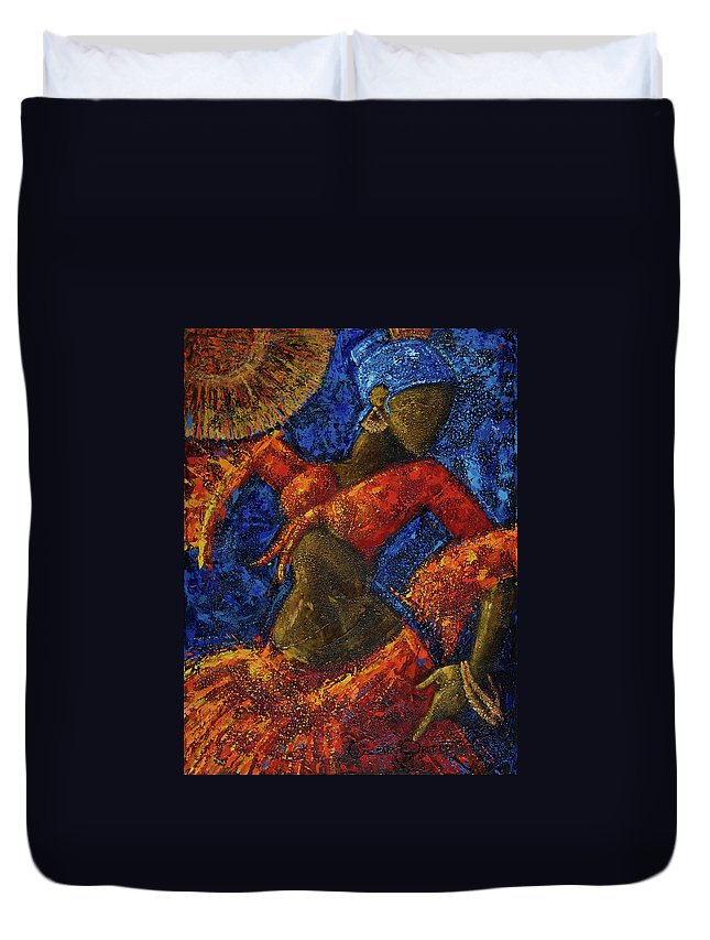 Dancer Duvet Cover featuring the painting Passion by Oscar Ortiz