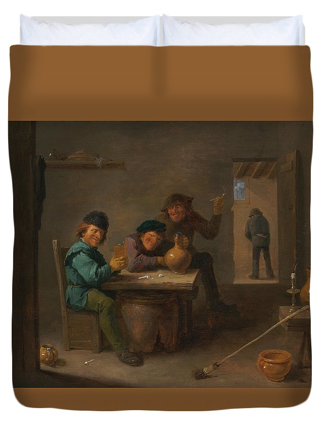 Baroque Duvet Cover featuring the painting Peasants In A Tavern by David Teniers the Younger