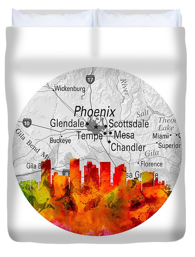 Phoenix Duvet Cover featuring the painting Phoenix Arizona 14rd by Aged Pixel