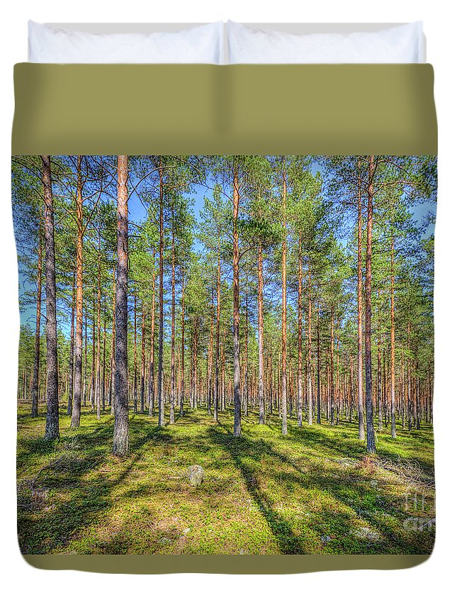 Atmosphere Duvet Cover featuring the photograph Pinewood by Veikko Suikkanen