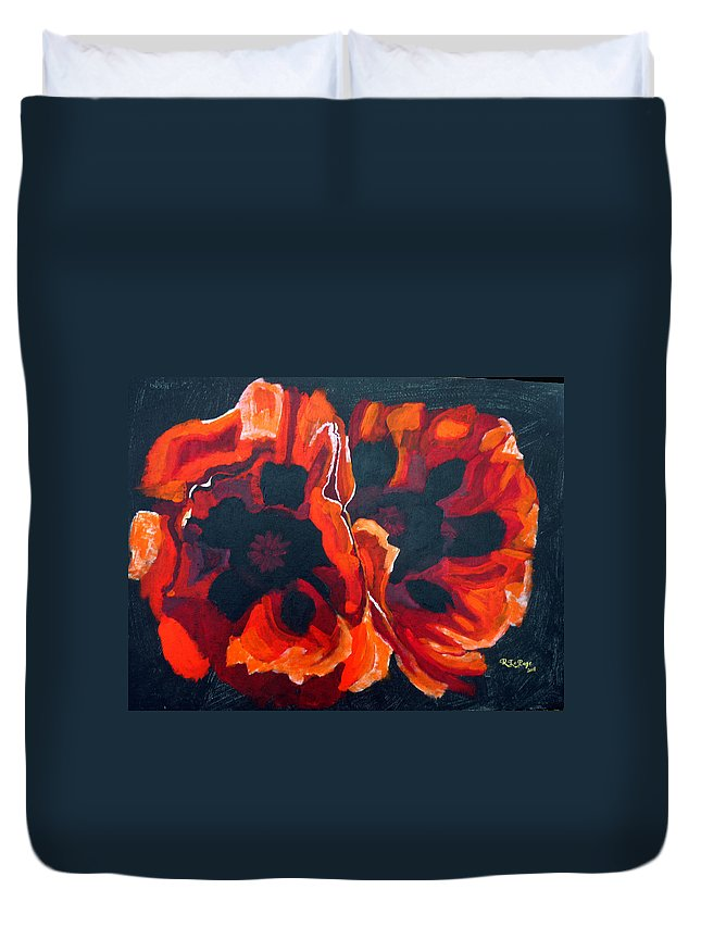 Poppies Duvet Cover featuring the painting 2 Poppies by Richard Le Page