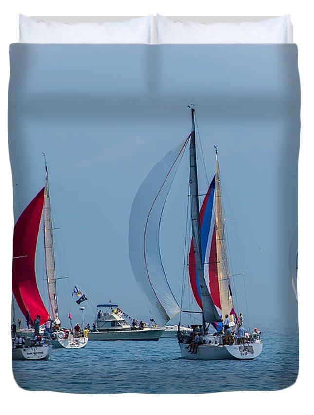 Sailboats Duvet Cover featuring the photograph Port Huron To Mackinac Race 2015 by Ronald Grogan