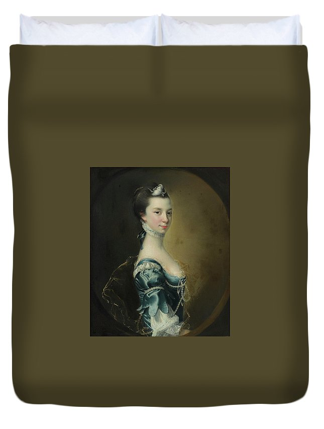 Joseph Wright Of Derby Duvet Cover featuring the painting Portrait Of A Young Lady by Joseph Wright