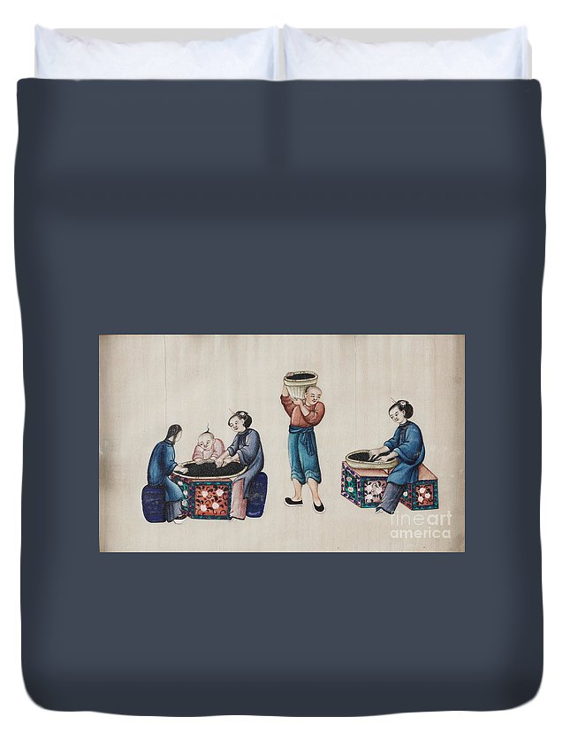 Portraying The Chinese Tea Industry Duvet Cover featuring the painting Portraying The Chinese Tea Industry by Celestial Images