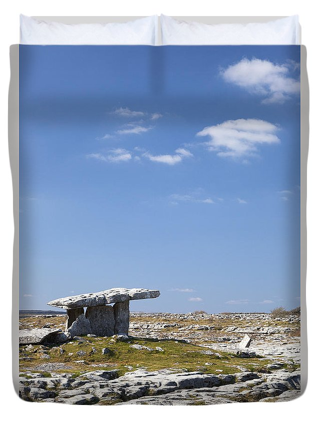 Poulnabrone Duvet Cover featuring the photograph Poulnabrone Dolmen, Burren, County Clare, Ireland by Peter Barritt