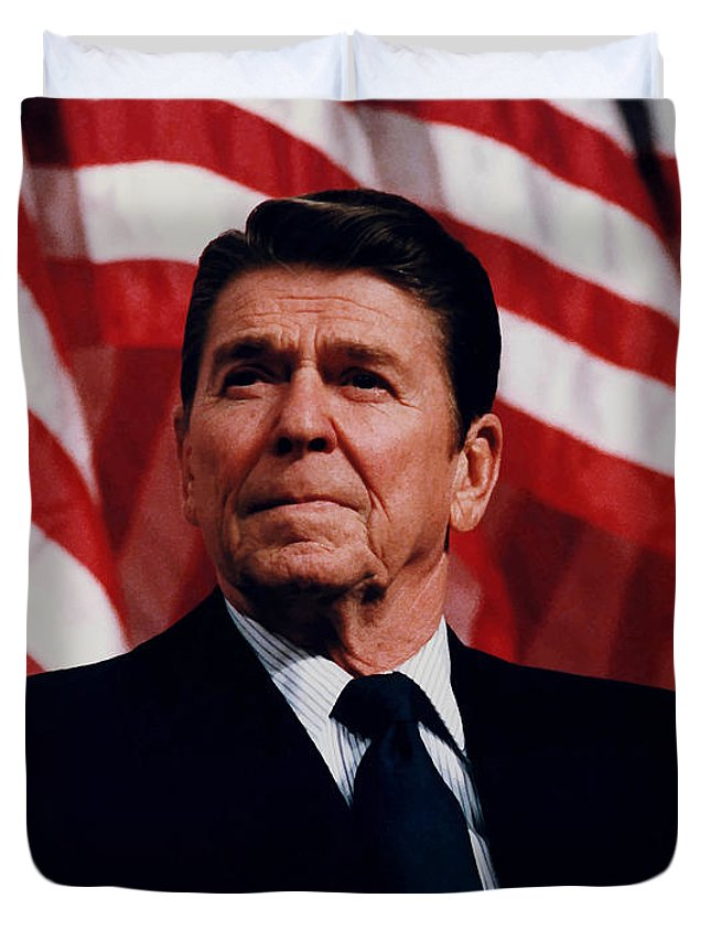 Ronald Reagan Duvet Cover featuring the photograph President Ronald Reagan by War Is Hell Store