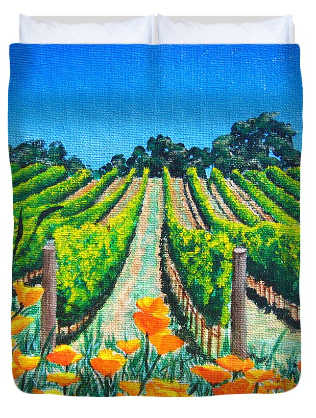 Vineyard Duvet Cover featuring the painting Presidio Vineyard by Angie Hamlin
