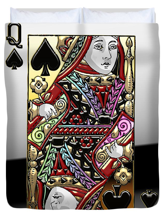'it's A Gamble' Collection By Serge Averbukh Duvet Cover featuring the photograph Queen of Spades by Serge Averbukh