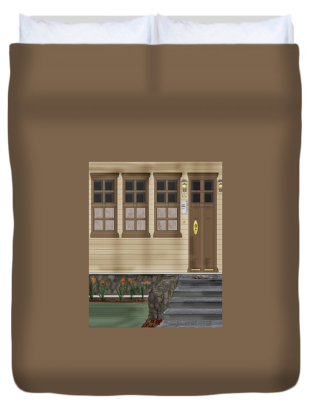 Townscape Duvet Cover featuring the painting Rags On The Front Steps by Anne Norskog