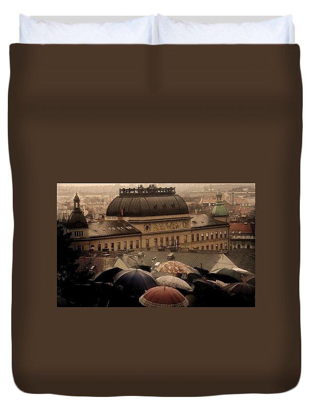 Rain Duvet Cover featuring the digital art Rain by Bert Mailer