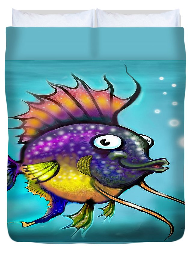 Rainbow Duvet Cover featuring the painting Rainbow Fish by Kevin Middleton