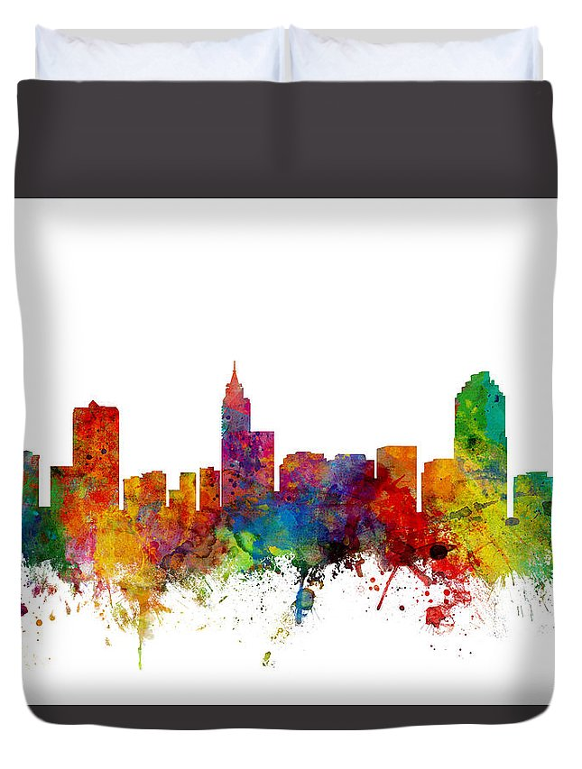 United States Duvet Cover featuring the digital art Raleigh North Carolina Skyline by Michael Tompsett