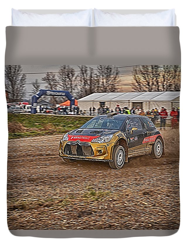 Rally Car Duvet Cover featuring the photograph Rally Car by Borko Turudic