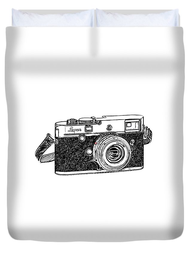 Analog Duvet Cover featuring the digital art Rangefinder Camera by Setsiri Silapasuwanchai