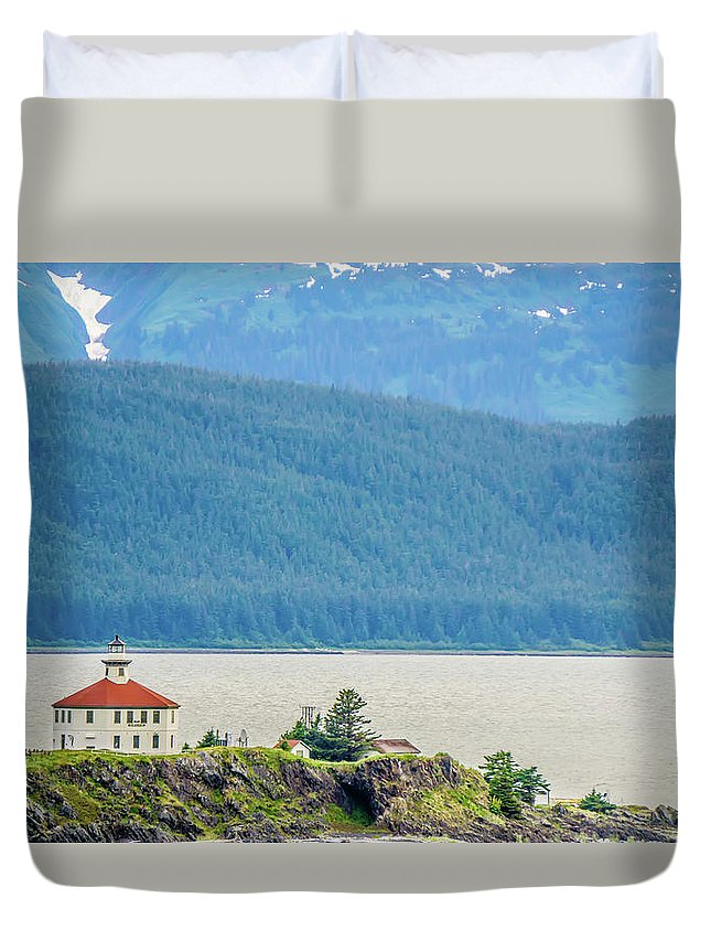 Light Duvet Cover featuring the photograph Remote Lighthouse Island Standing In The Middle Of Mud Bay Alask by Alex Grichenko