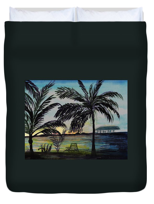 Roatan Duvet Cover featuring the painting Roatan Sunset by Donna Walsh