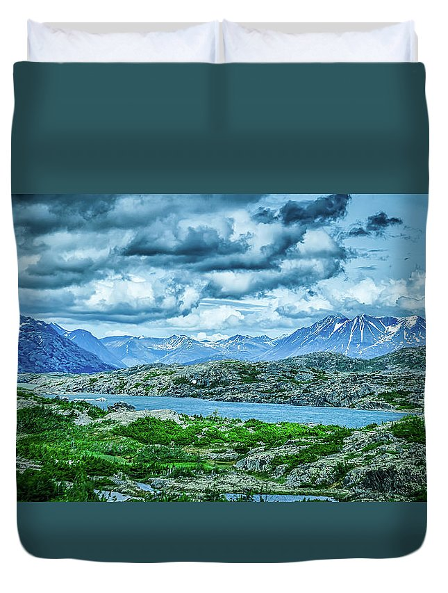 Tranquil Scene Duvet Cover featuring the photograph Rocky Mountains Nature Scenes On Alaska British Columbia Border by Alex Grichenko