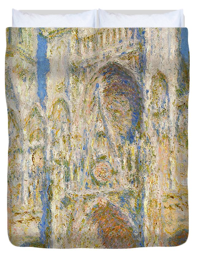 Architectural Duvet Cover featuring the painting Rouen Cathedral, West Facade, Sunlight by Claude Monet