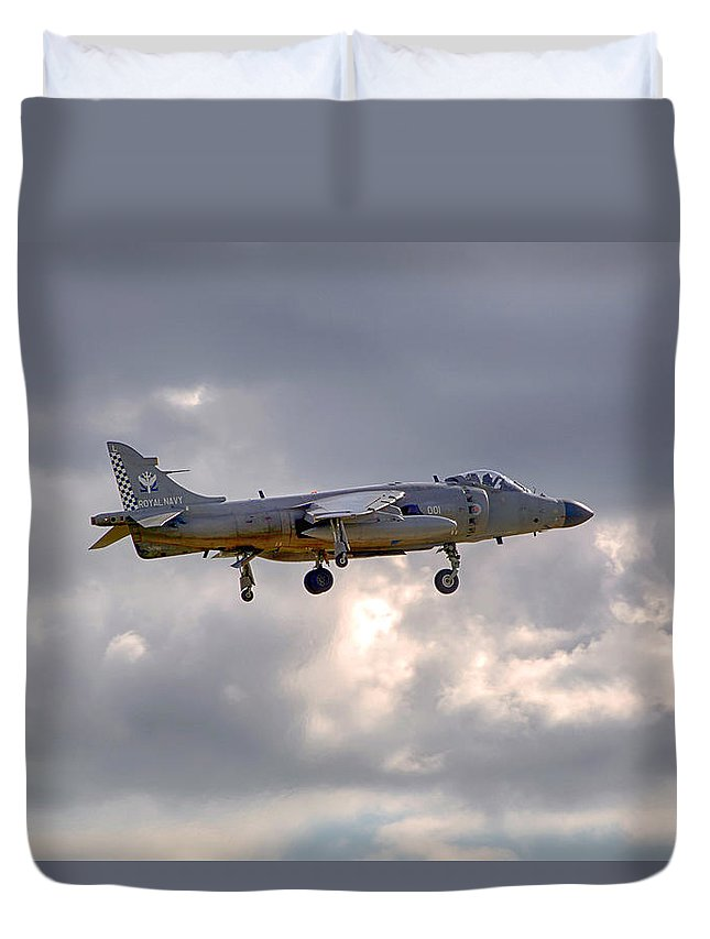 Royal Navy Duvet Cover featuring the photograph Royal Navy Sea Harrier by Chris Smith