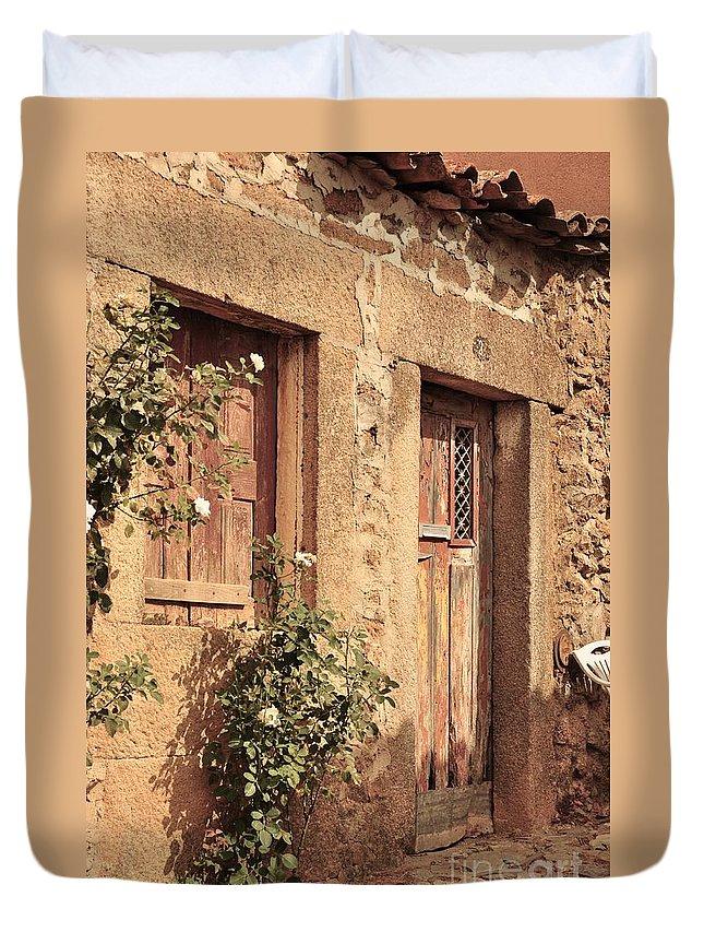 Castelo Rodrigo Duvet Cover featuring the photograph 2 Rua Da Tapada by Csilla Florida