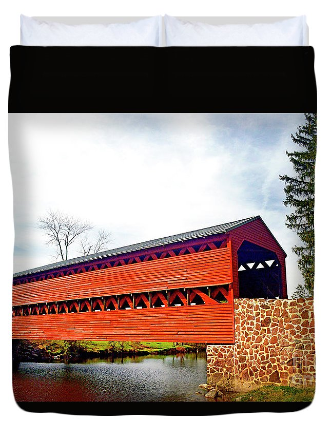 Sachs Duvet Cover featuring the photograph Sachs Bridge - Gettysburg by Paul W Faust - Impressions of Light