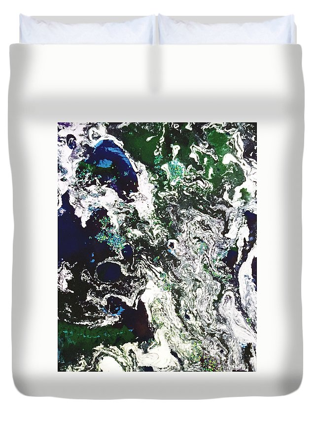 Abstract Duvet Cover featuring the painting Space Odyssey by Susi Schuele