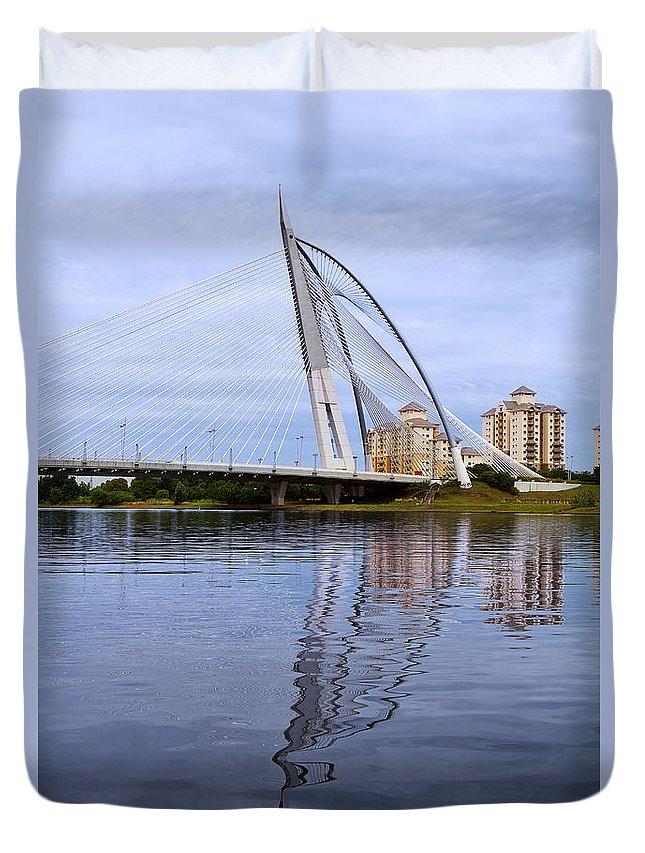 Travel Duvet Cover featuring the photograph Seri Wawasan Bridge by Louise Heusinkveld