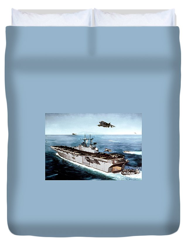 Ship Duvet Cover featuring the digital art Ship by Dorothy Binder