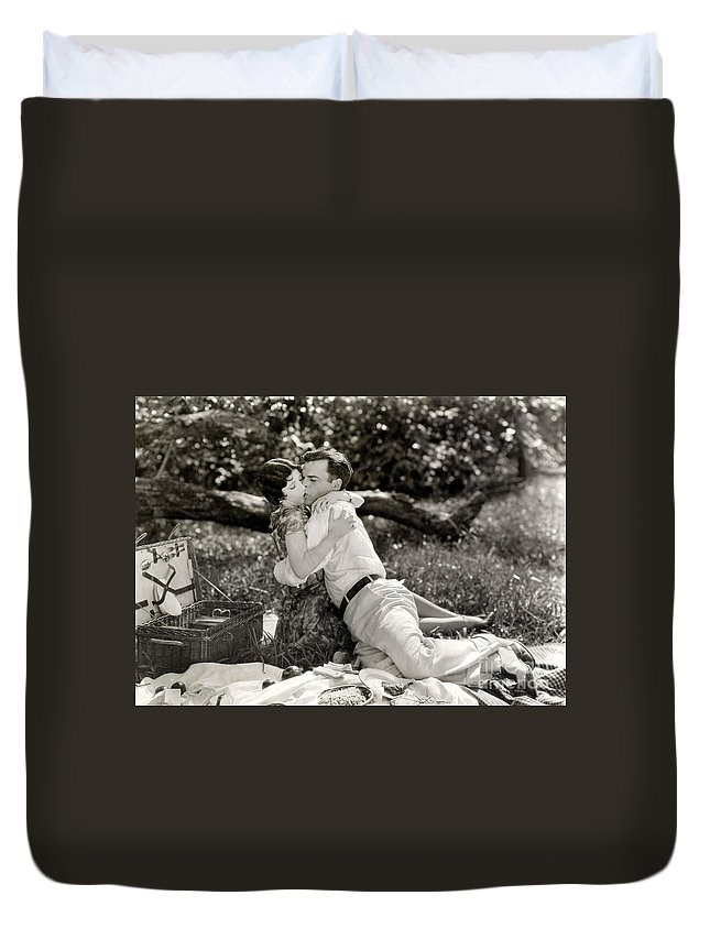-picnic- Duvet Cover featuring the photograph Silent Film Still: Picnic by Granger