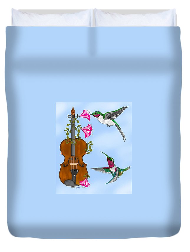 Fantasy Duvet Cover featuring the painting Singing The Song Of Life by Anne Norskog