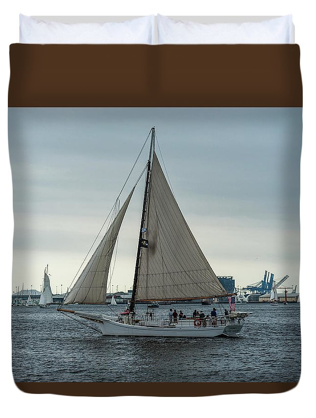2017 Duvet Cover featuring the photograph Skipjack by Jim Archer