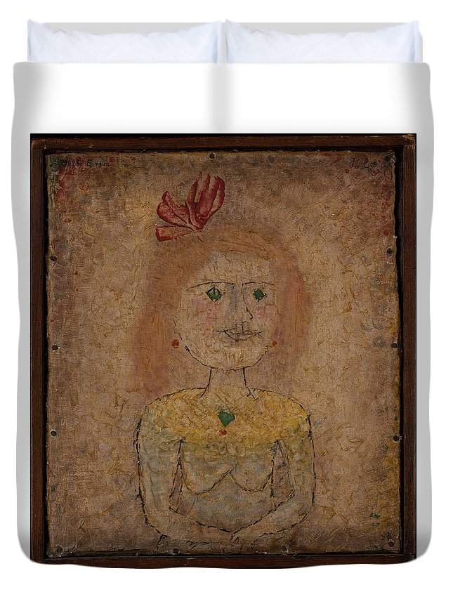 Paul Klee Small Portrait Of A Girl In Yellow Duvet Cover featuring the painting Small Portrait Of A Girl In Yellow by Paul Klee