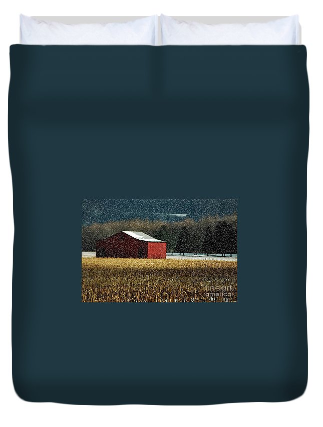 Barn Duvet Cover featuring the photograph Snowy Red Barn In Winter by Lois Bryan